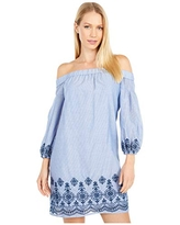 Vince Camuto Women's Embroidered Cotton Off The Shoulder Shift Dress, Navy, 6