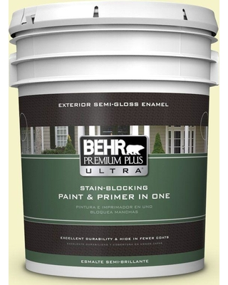 BEHR ULTRA 5 gal. #400A-1 Candlelight Yellow Semi-Gloss Enamel Exterior Paint and Primer in One