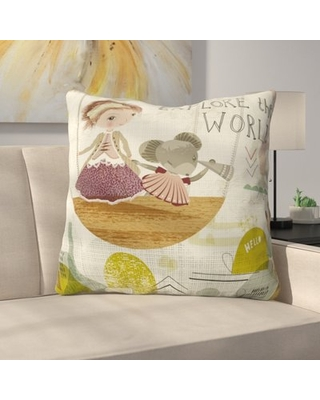 """Explore The World Polyester Throw Pillow East Urban Home Size: 20"""" H x 20"""" W x 6"""" D"""