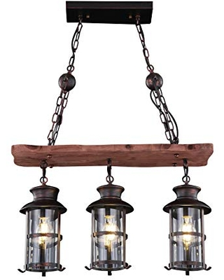 "Artiva USA LED202083HA Borgo Collection 3-Light Antique Bronze LED Linear Lantern Chandelier, 26""X9.25""X36"""