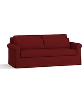 "York Roll Arm Slipcovered Deep Seat Sofa 84"" with Bench Cushion, Down Blend Wrapped Cushions, Twill Sierra Red"