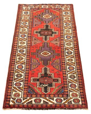 """One-of-a-Kind Hand-Knotted 1980s 4'8"""" x 9' Wool Area Rug in Red Isabelline"""