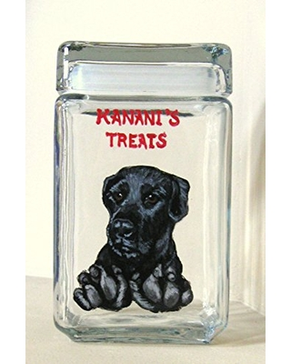Can T Miss Bargains On Black Labrador Retriever Pet Treat Jar For Dog Biscuits And Snacks Canister With Personalized Pet Portrait Painted Glass Storage Jar