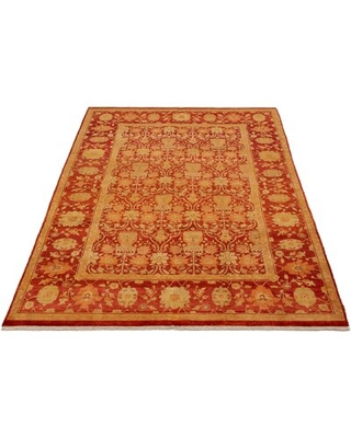 """One-of-a-Kind Hillevi Hand-Knotted 2010s Ushak Red/Golden 6'1"""" x 8'10"""" Wool Area Rug"""