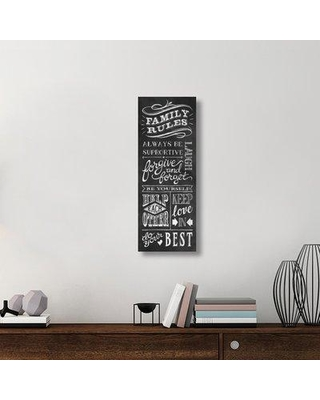 """East Urban Home 'Family Rules I' Textual Art on Canvas UBAH1405 Size: 36"""" H x 14"""" W x 1.5"""" D"""