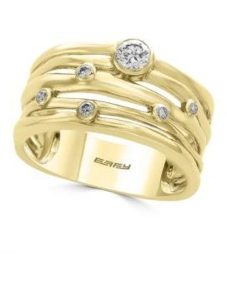 Effy Yellow Gold 14K Yellow-Gold Scattered Diamond Band Ring