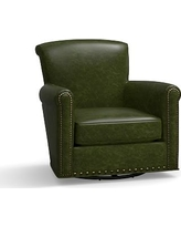 Irving Leather Swivel Glider, Bronze Nailheads, Polyester Wrapped Cushions, Leather Legacy Forest Green