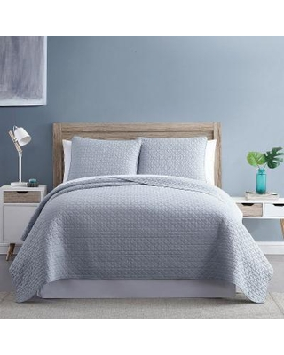 Diamond Link 3-Piece Enzyme Washed Quilt Set, Grey, King