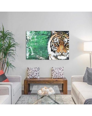 """East Urban Home Tiger Painting Print on Wrapped Canvas ESHM9212 Size: 18"""" H x 26"""" W x 1.5"""" D"""