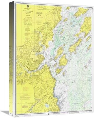 "East Urban Home Nautical Chart 'Portland Harbor and Vicinity Ca 1974' Graphic Art Print on Canvas ETUC3905 Size: 22"" H x 16"" W x 1.5"" D"