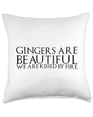 GingerQuotes Gingers are beautiful, we are kissed by fire Throw Pillow, 18x18, Multicolor