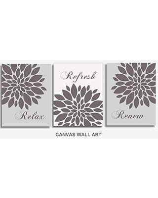 Discover Deals On Relax Refresh Renew Canvas Wall Art Gray Bathroom Decor Set Of 3