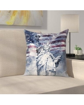 """East Urban Home Modern Art Statue of Liberty Throw Pillow ETHF2664 Size: 18"""" x 18"""", Color: Blue"""