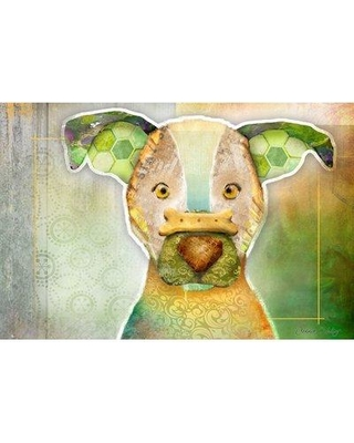 "Marmont Hill 'Dog With Bone Ii' by Connie Haley Painting Print on Wrapped Canvas MH-HALEY-24-C- Size: 30"" H x 45"" W"