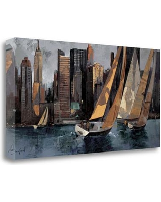 """Tangletown Fine Art 'Sailboats in Manhattan I' Print on Wrapped Canvas CABMP306-2915c Size: 15"""" H x 29"""" W"""