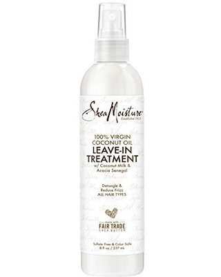 SheaMoisture 100% Virgin Coconut Oil Leave-in Conditioner Treatment for All Hair Types 100% Extra Virgin Coconut Oil Silicone Free Conditioner 8 oz