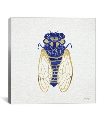 """Cicada Artprint by Cat Coquillette Painting Print on Wrapped Canvas in Gold and Navy Brayden Studio Size: 26"""" H x 26"""" W x 0.75"""" D"""