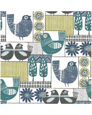 "Harriet Bee Coggeshall Patchwork 33' L x 20.4"" W Wallpaper Roll W000319705 Color: Green/Blue"