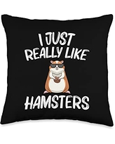 Best Hamster Pet Winter White Fur Designs Cool Hamster Gift For Men Women Syrian Dwarf Rodent Animal Throw Pillow, 16x16, Multicolor