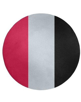East Urban Home Striped Red/Silver/Black Area Rug FCOK9045 Rug Size: Round 5'