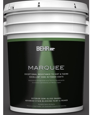 BEHR MARQUEE 5 gal. #N530-7 Private Black Semi-Gloss Enamel Exterior Paint and Primer in One