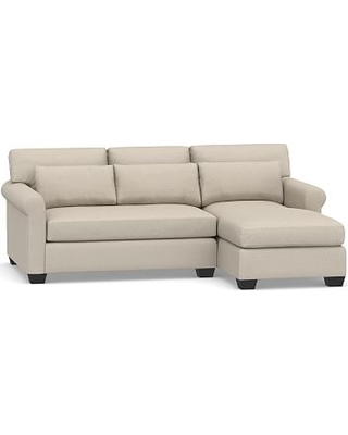 York Roll Arm Upholstered Deep Seat Left Arm Sofa with Chaise Sectional, Bench Cushion, Down Blend Wrapped Cushions, Performance Chateau Basketweave Oatmeal
