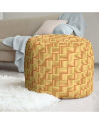 East Urban Home Classic Basketweave Stripes Pouf W001706293 Upholstery Color: Orange/Yellow