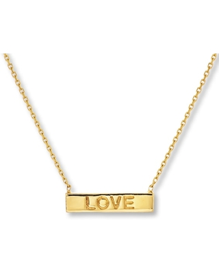 """Jared The Galleria Of Jewelry """"Love"""" Bar Necklace 14K Yellow Gold 16"""" Adjustable"""