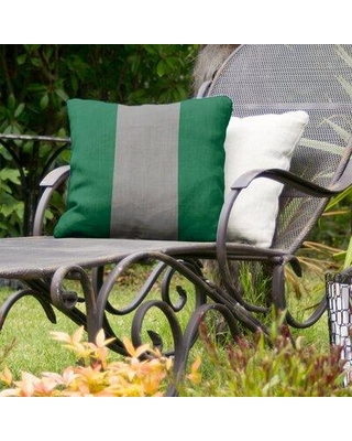"""East Urban Home Dallas Hockey Indoor / Outdoor Striped Throw Pillow FCOK8009 Color: Victory Green/Silver/Victory Green Size: 20"""" x 20"""""""