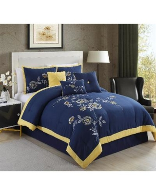 Violet Embrodiery 7-PC King Comforter Set - Elight Home 20825K