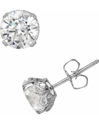 7a89d735c Emotions Sterling Silver Solitaire Earrings - Made with Swarovski Zirconia,  Women's, White