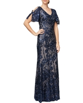 Alex Evenings Sequin Lace Cold Shoulder Trumpet Gown, Size 18 in Navy/Nude at Nordstrom