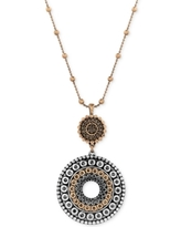 Lucky Brand Two-Toned Decorated Disc Pendant Necklace