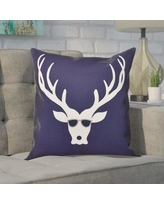 """The Holiday Aisle Leonis Holiday Print Throw Pillow THLA6874 Color: Navy Blue, Size: 20"""" H x 20"""" W"""