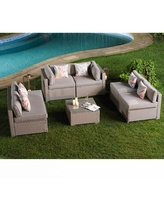 Spectacular Deals On Chic 7 Piece Sofa Seating Group La Fete Fabric Bronze Linen