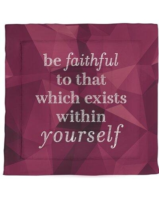 East Urban Home Be Faithful To Yourself Quote Single Reversible Comforter FCKa8439 Size: Queen Comforter Color: Spinel