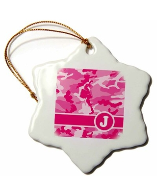 Cute Camouflage Letter J Snowflake Holiday Shaped Ornament