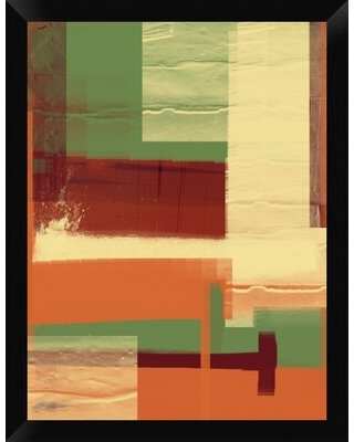 """'Green and Brown Abstract 1' Framed Graphic Art Print on Canvas Naxart Size: 26"""" H x 20"""" W x 1.5"""" D"""
