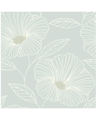 MANHATTAN COMFORT INC Fowler, Mythic Seafoam Floral Paper Strippable Wallpaper Roll (Covers 56.4 sq. ft.)
