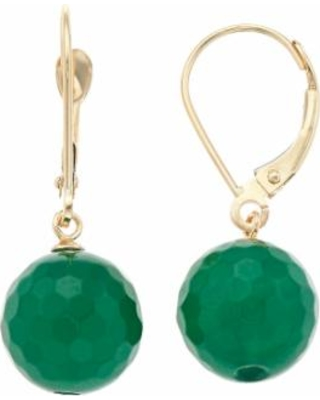 14k Gold Agate Drop Earrings, Women's, Green
