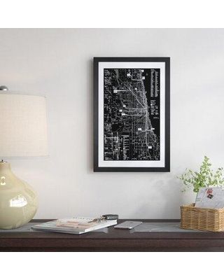 "East Urban Home 'Modern Art - Chicago Transit Negative' Graphic Art Print FTSC8135 Format: Black Frame Size: 32"" H x 24"" W x 1"" D"