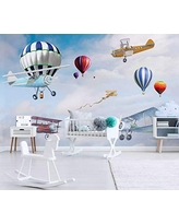 Colorful Hot-Air Baloon and Airplane Nursery Wallpaper, Kids Hot-Air Baloon Wall Mural Nursery Map Wall Decor Boys Bedroom- Peel and Stick- Custom Color