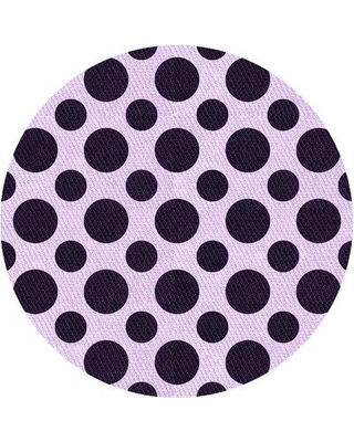 East Urban Home Donohue Polka Dots Purple/Black Area Rug X113673392 Rug Size: Round 3'