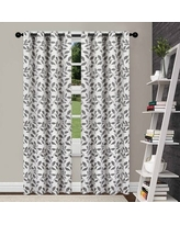 Superior Leaves Insulated Thermal Blackout Grommet Curtain Panel Pair (96 Inches - Grey)