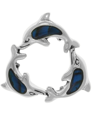 Jewelry Trends Sterling Silver Ocean Seahorse Pendant with Blue Paua Shell Accents