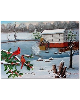 """Trademark Art 'Murrays Mill In The Snow' Print on Wrapped Canvas ALI15581-C Size: 35"""" H x 47"""" W"""