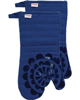 """Bright Blue Medallion Silicone Oven Mitt 2 Pack (13""""x13"""") T-Fal"""