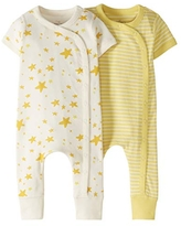Moon and Back by Hanna Andersson Baby 2 Pack Romper, Light Yellow, 0-3 mos