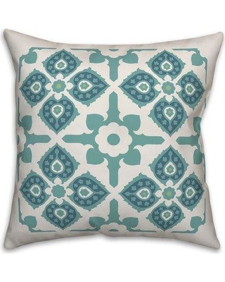 """Charlton Home Maliana Graphic Tile Throw Pillow W001420583 Size: 20"""" x 20"""" Fill Material: Polyester/Polyfill Color: Light Blue"""