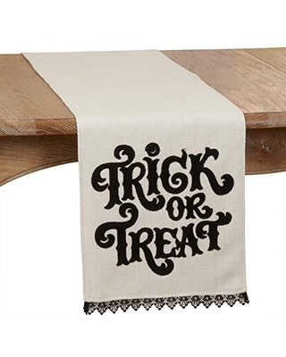 """SARO LIFESTYLE Hallows Collection Trick Or Treat Table Runner, 14"""" x 72"""", Natural"""